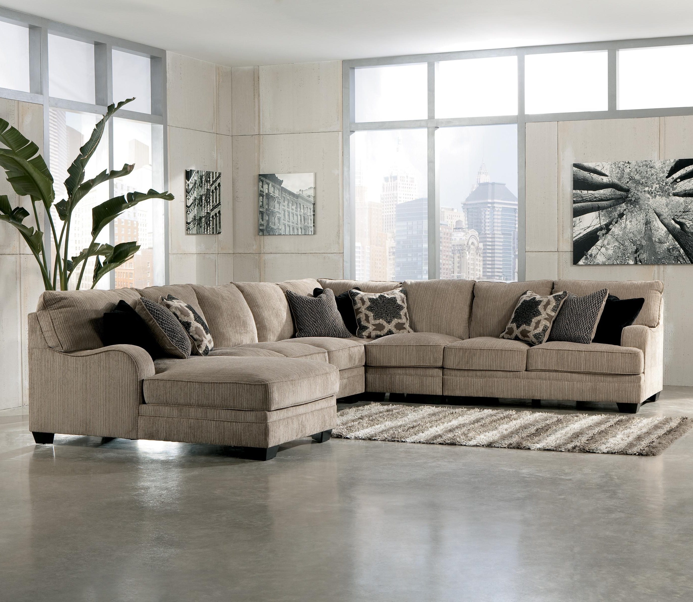 Ivan Smith Sectional Sofas With Most Current Signature Designashley Katisha – Platinum 5 Piece Sectional (View 9 of 15)