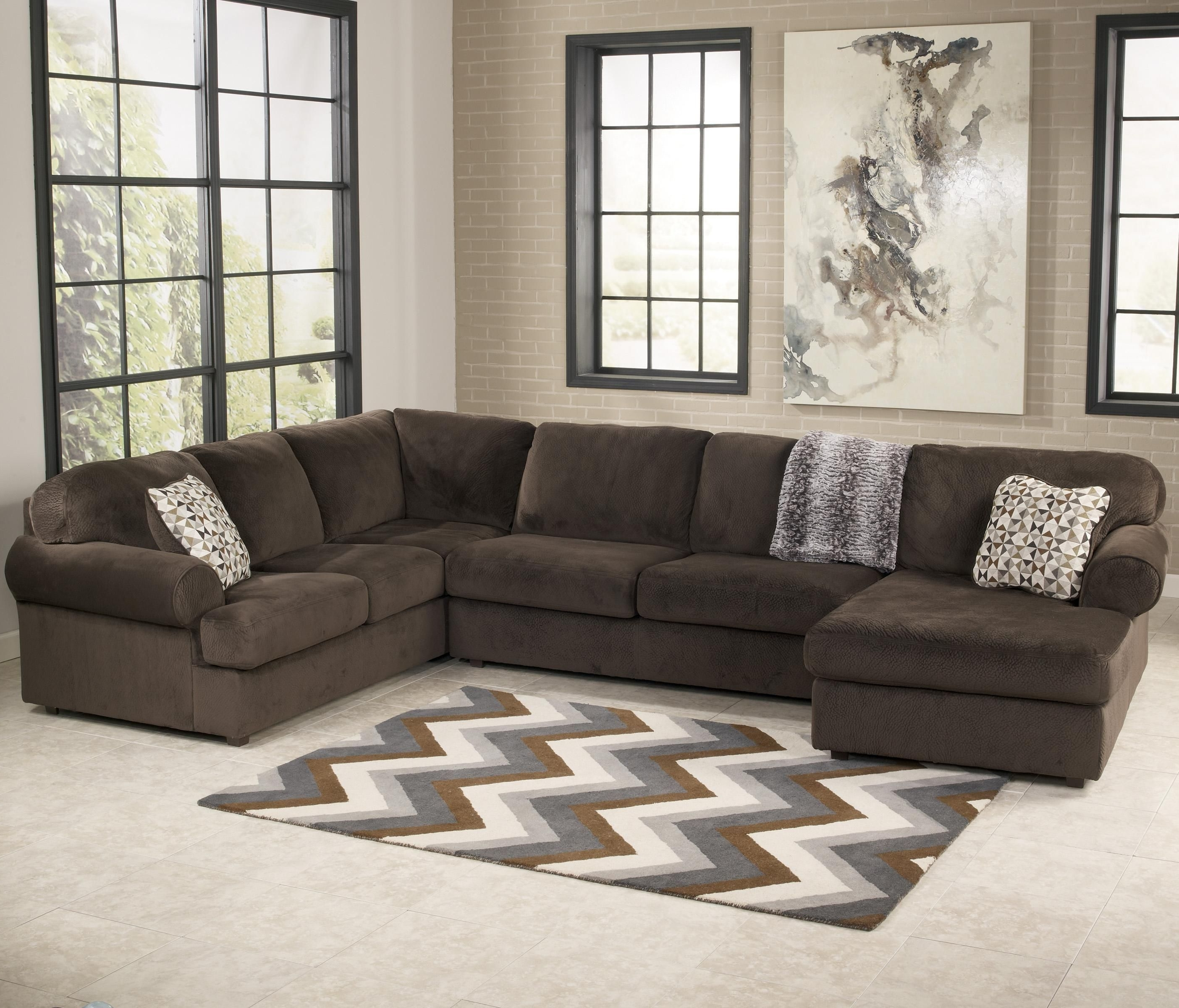 Jackson Ms Sectional Sofas throughout Trendy Jessa Place - Chocolate Casual Sectional Sofa With Left Chaise