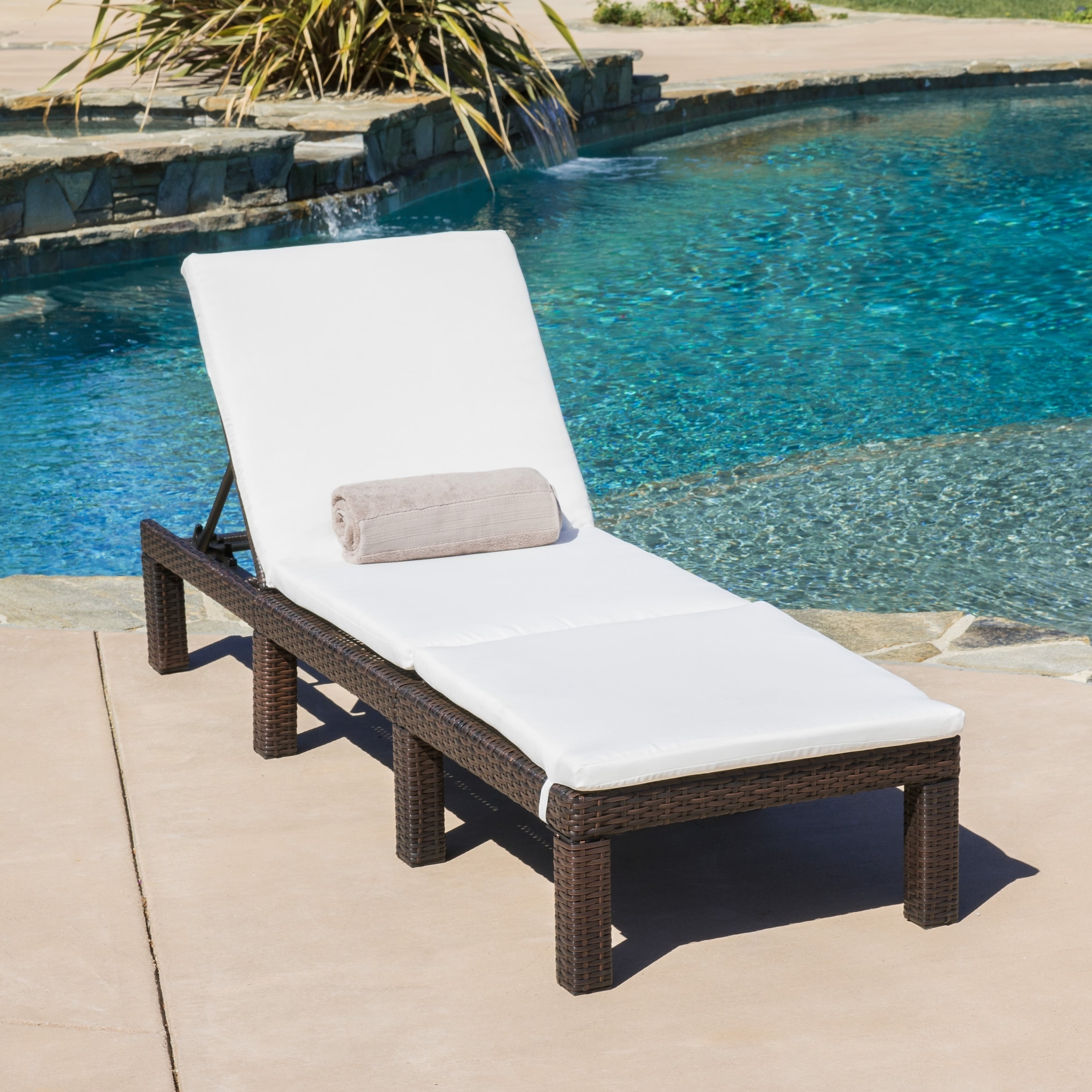 Jamaica Outdoor Chaise Lounge With Cushion (Set Of 2) throughout Famous Overstock Outdoor Chaise Lounge Chairs