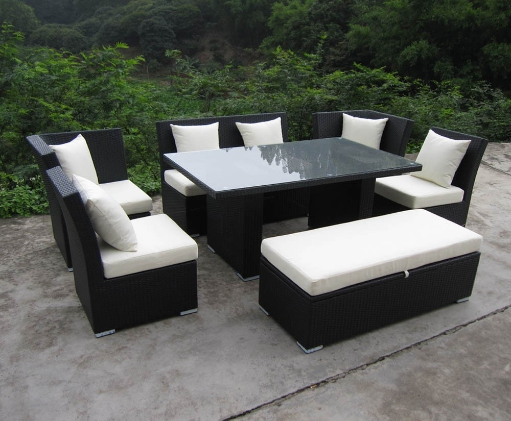 Jamaica Sectional Sofas Within Popular Jamaican Sofa And Dining Set In Black Wicker, Ivory Fabric (Gallery 1 of 15)