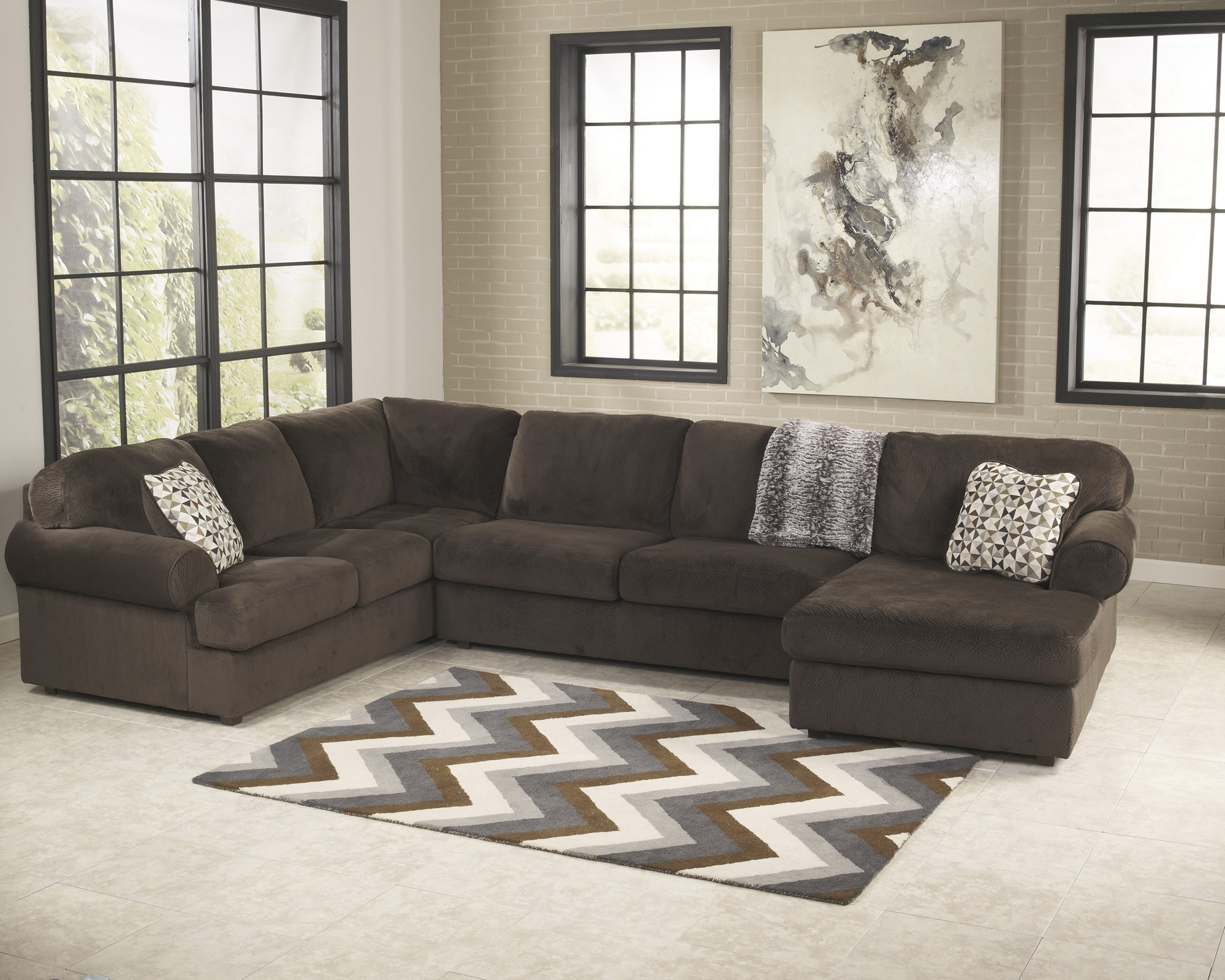 Jessa Place Chocolate 3 Piece Sectional Sofa For $ (View 3 of 15)