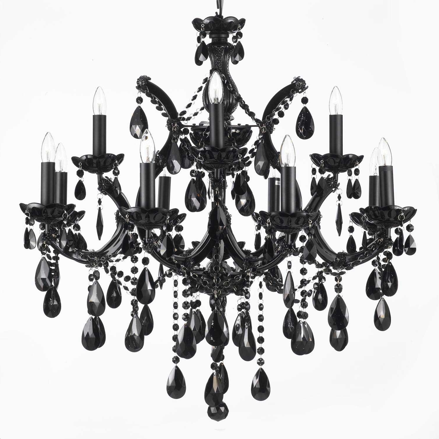 Jet Black Chandelier Crystal Lighting 30X28 - - Amazon throughout Recent Black Chandelier