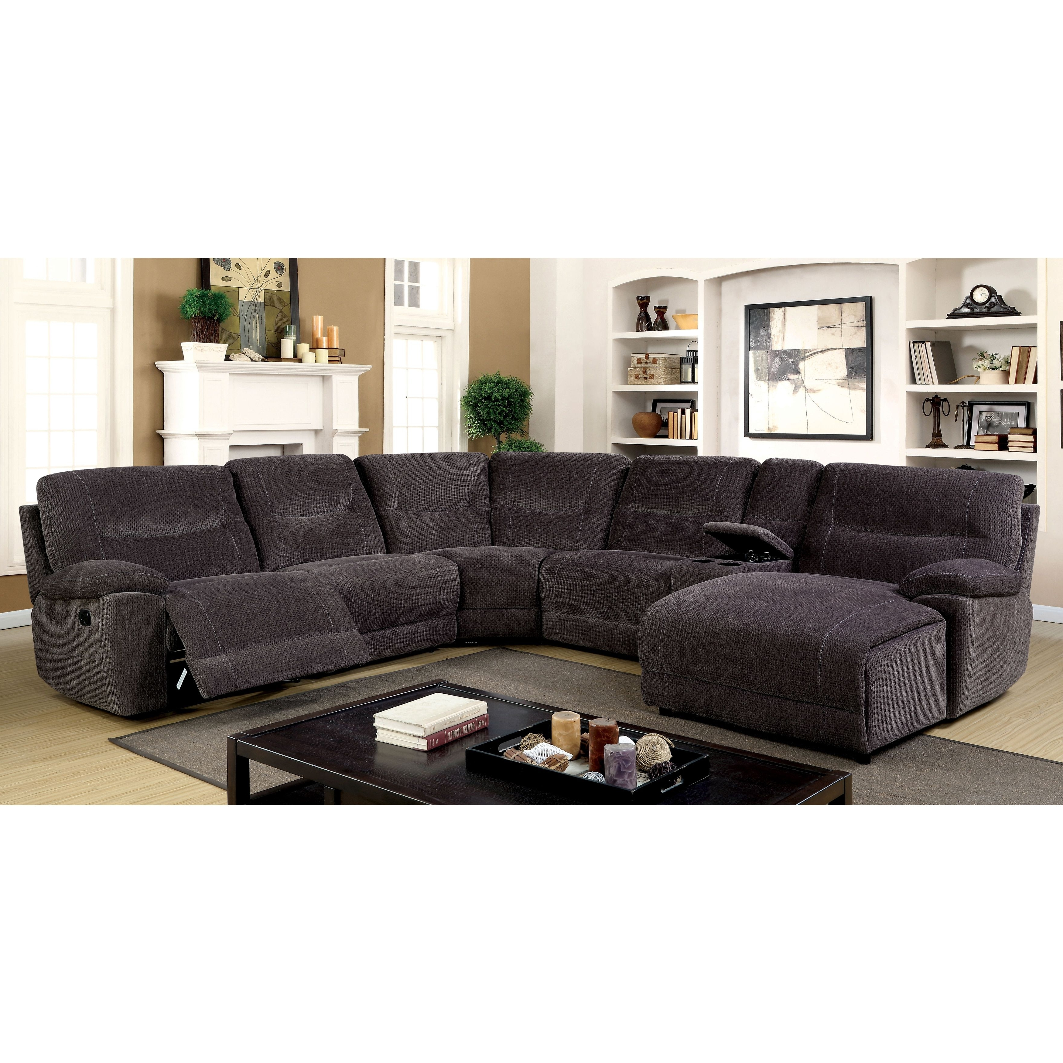Johnson City Tn Sectional Sofas for Most Recent Furniture Of America Colen Reclining Chenille Fabric Grey L-Shaped
