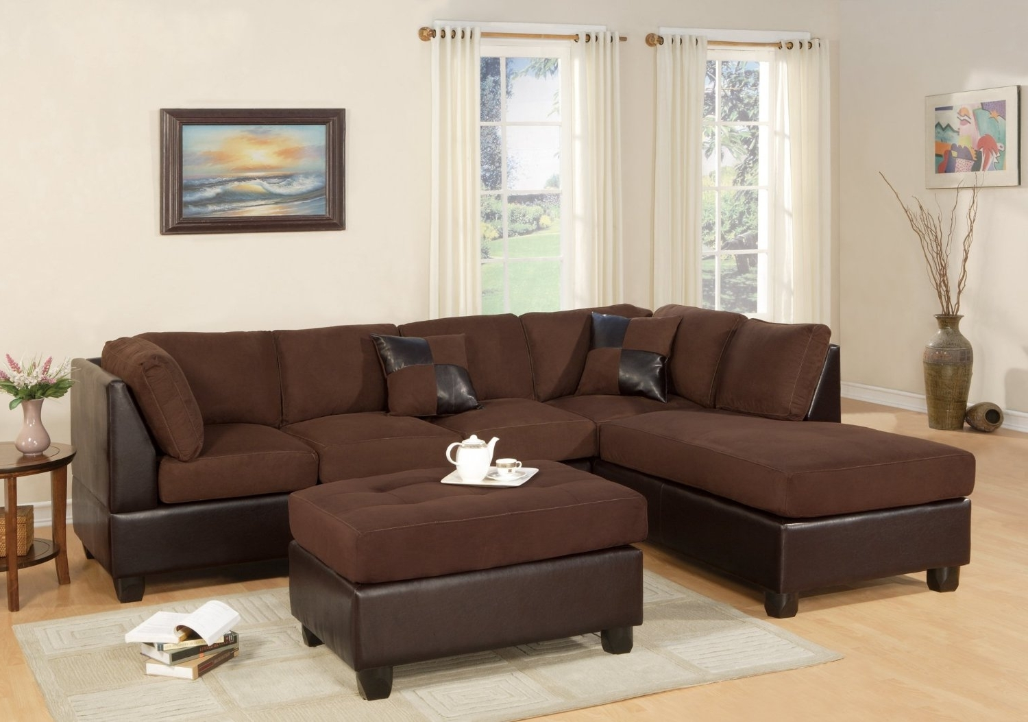 Joplin Mo Sectional Sofas Pertaining To Well Known Amazon – Bobkona Hungtinton Microfiber/faux Leather 3 Piece (Gallery 13 of 15)