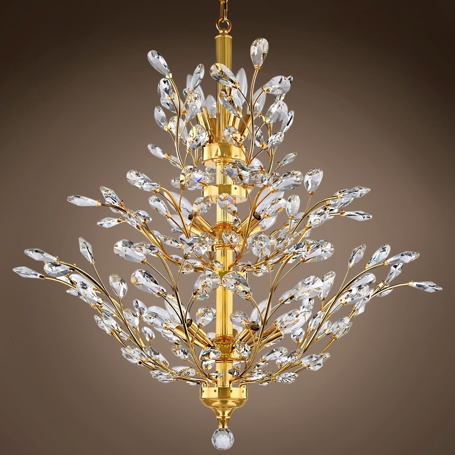 Joshua Marshal 700861 Branch Of Light 10 Light Gold Chandelier With Intended For Popular Crystal Branch Chandelier (Gallery 7 of 15)