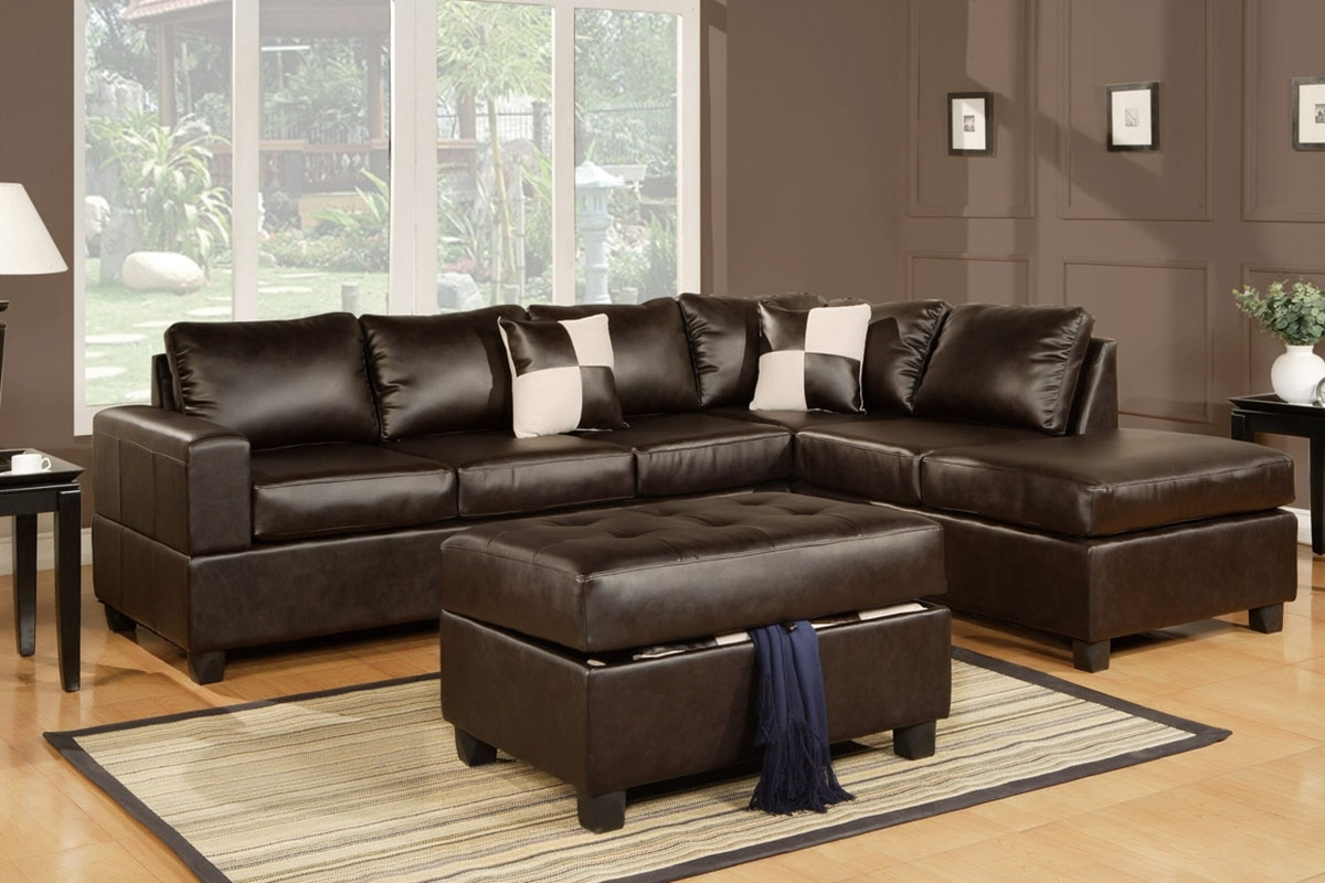 Julius Espresso Bonded Leather Sectional Sofa With Ottoman inside Current Leather Sectionals With Ottoman