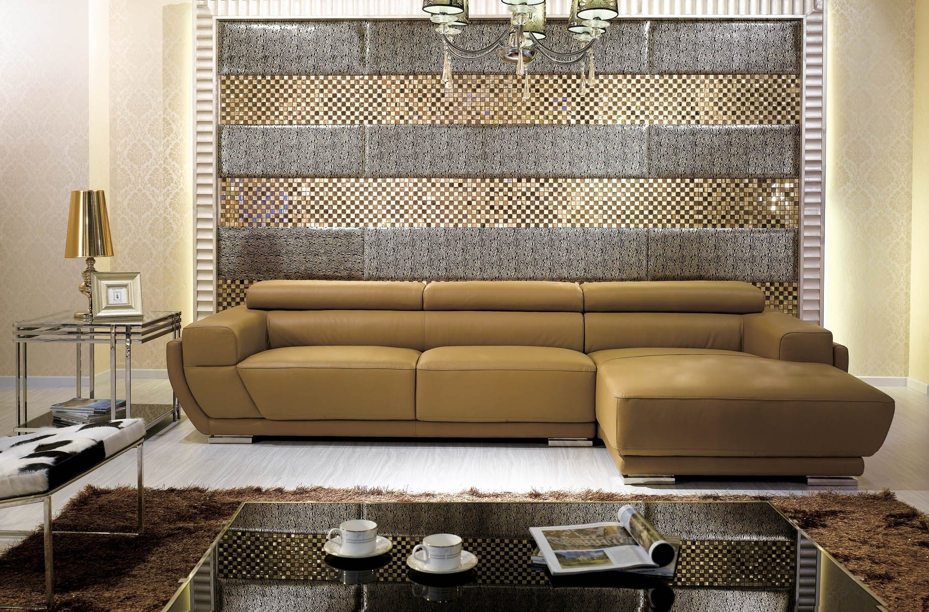 K8300 Modern Camel Italian Leather Sectional Sofa With Best And Newest Camel Colored Sectional Sofas (View 9 of 15)