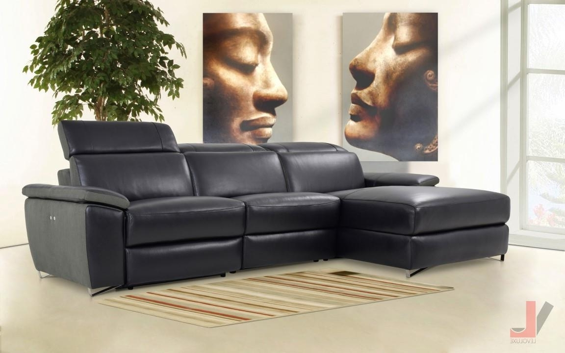 Kamloops Sectional Sofas Within Newest Aura Black Top Grain Leather Power Reclining Medium Sectional Sofa (View 5 of 15)
