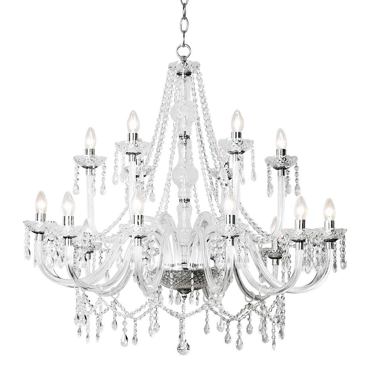 Katie 18 Light Chandelier Dual Mount Acrylic Glass Shade Sold Separately throughout Preferred Acrylic Chandelier Lighting