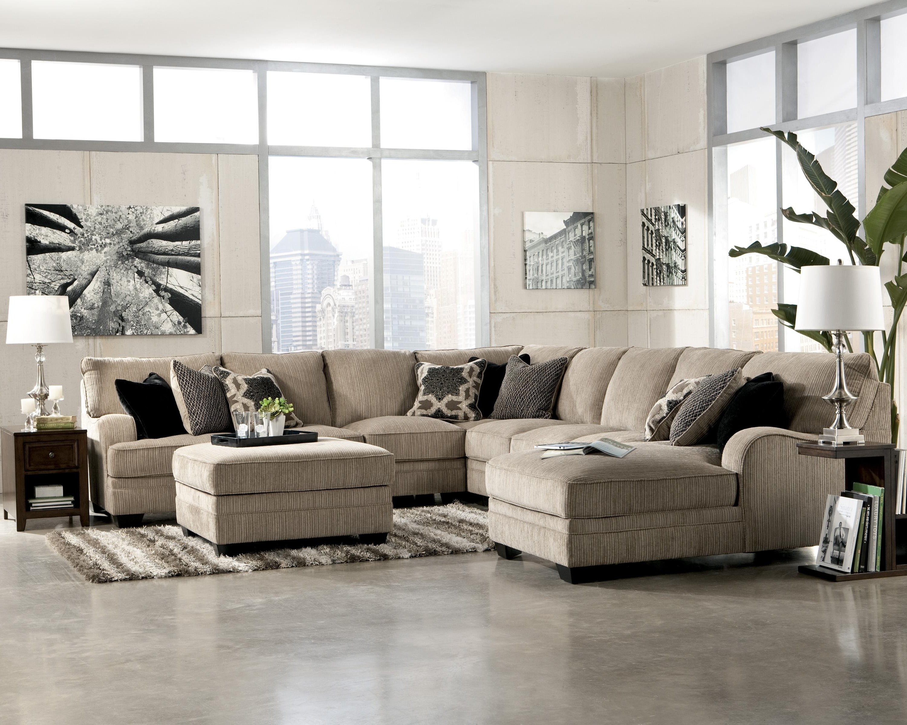 Katisha - Platinum 5-Piece Sectional Sofa With Left Chaise pertaining to Most Current Jackson Ms Sectional Sofas