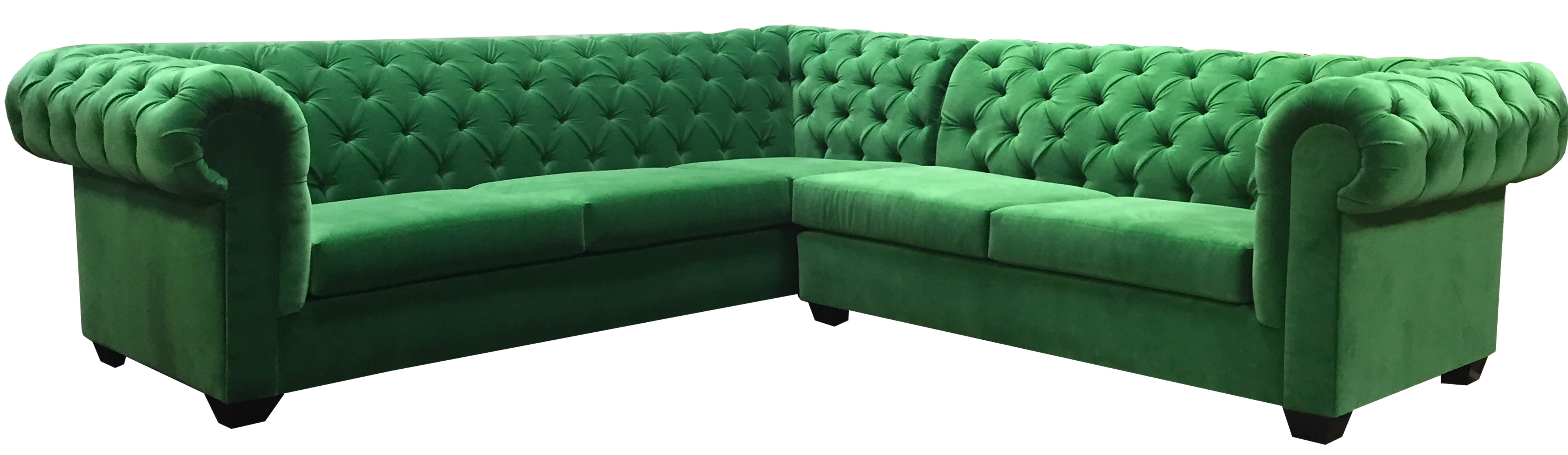 Kelly Green 'l' Sectional – Velvet – Designer8 With Well Known Green Sectional Sofas (View 11 of 15)