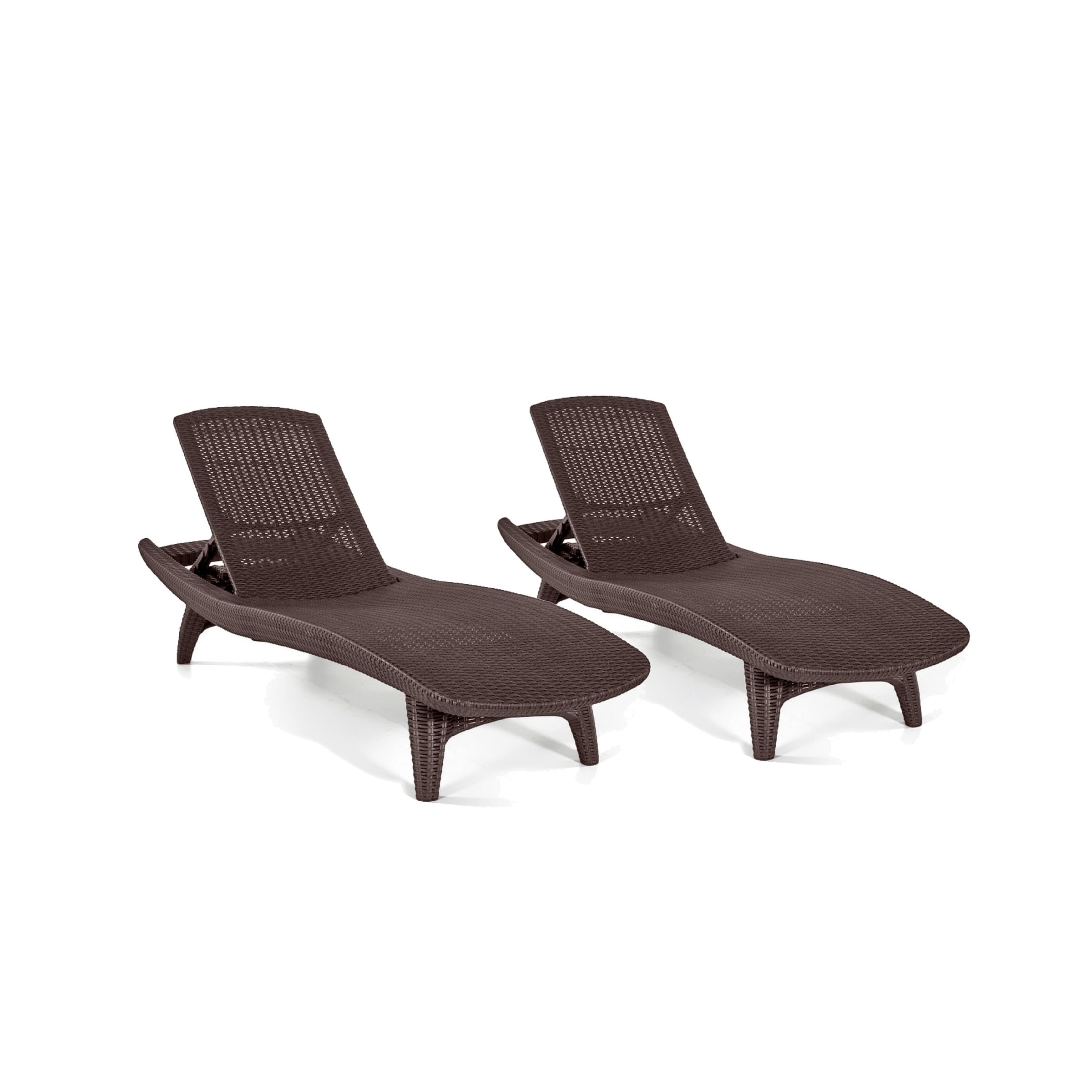 Keter Pacific All Weather Outdoor Patio Brown Chaise Lounge (Set Regarding Well Liked Keter Chaise Lounge Chairs (Gallery 11 of 15)
