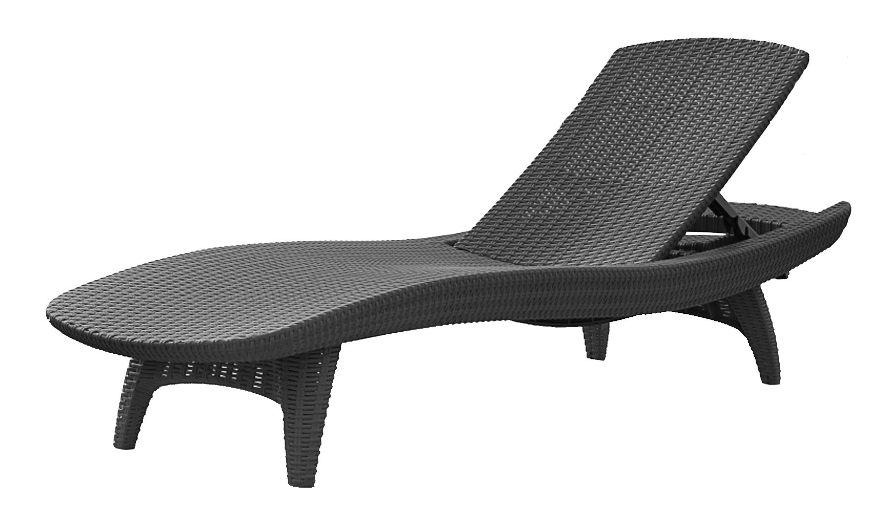 Keter Pacific Chaise Sun Lounger And Side Table Set, Charcoal For Favorite Keter Chaise Lounges (Gallery 2 of 15)