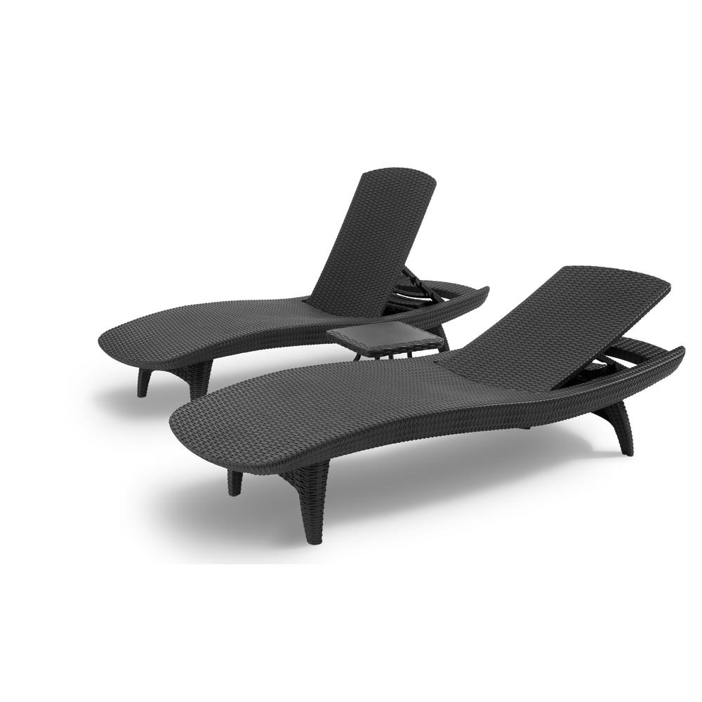 Keter Pacific Grey All-Weather Adjustable Resin Patio Chaise throughout Recent Keter Chaise Lounges
