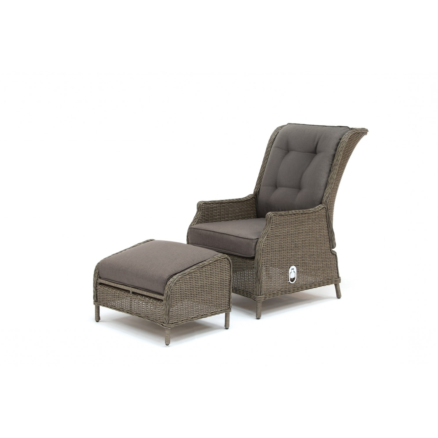 Kettler Chaise Lounge Chairs within Best and Newest Kettler Jarvis Recliner With Footstool - Rattan Inc Taupe Cushions