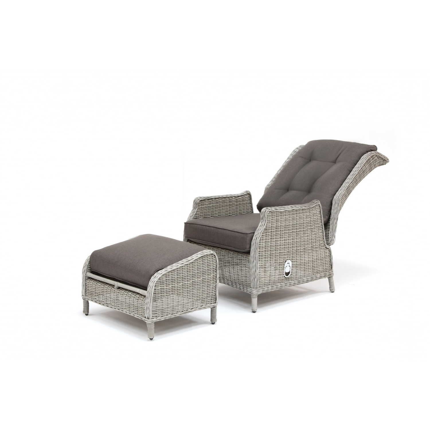Kettler Jarvis Recliner With Footstool - White Wash Inc Taupe Cushions pertaining to Popular Kettler Chaise Lounge Chairs