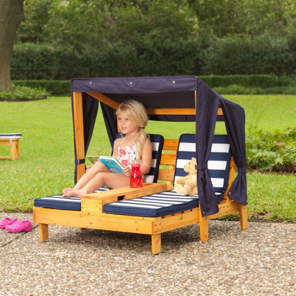 Kidkraft Chaise Lounges With Well Known Double Chaise Lounge With Cup Holders – Honey & Navy (View 9 of 15)