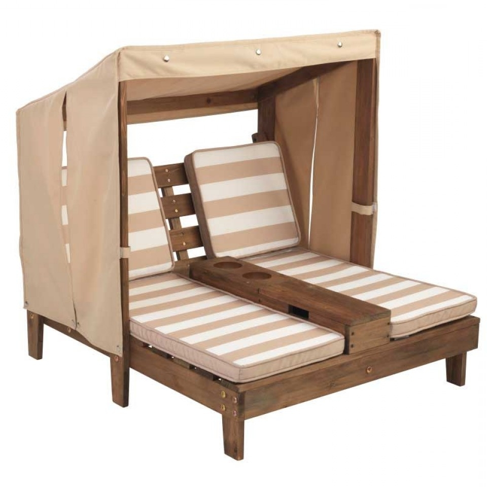 Kidkraft Double Chaise Lounges intended for Best and Newest Double Chaise Lounge With Cup Holders - Espresso & Oatmeal