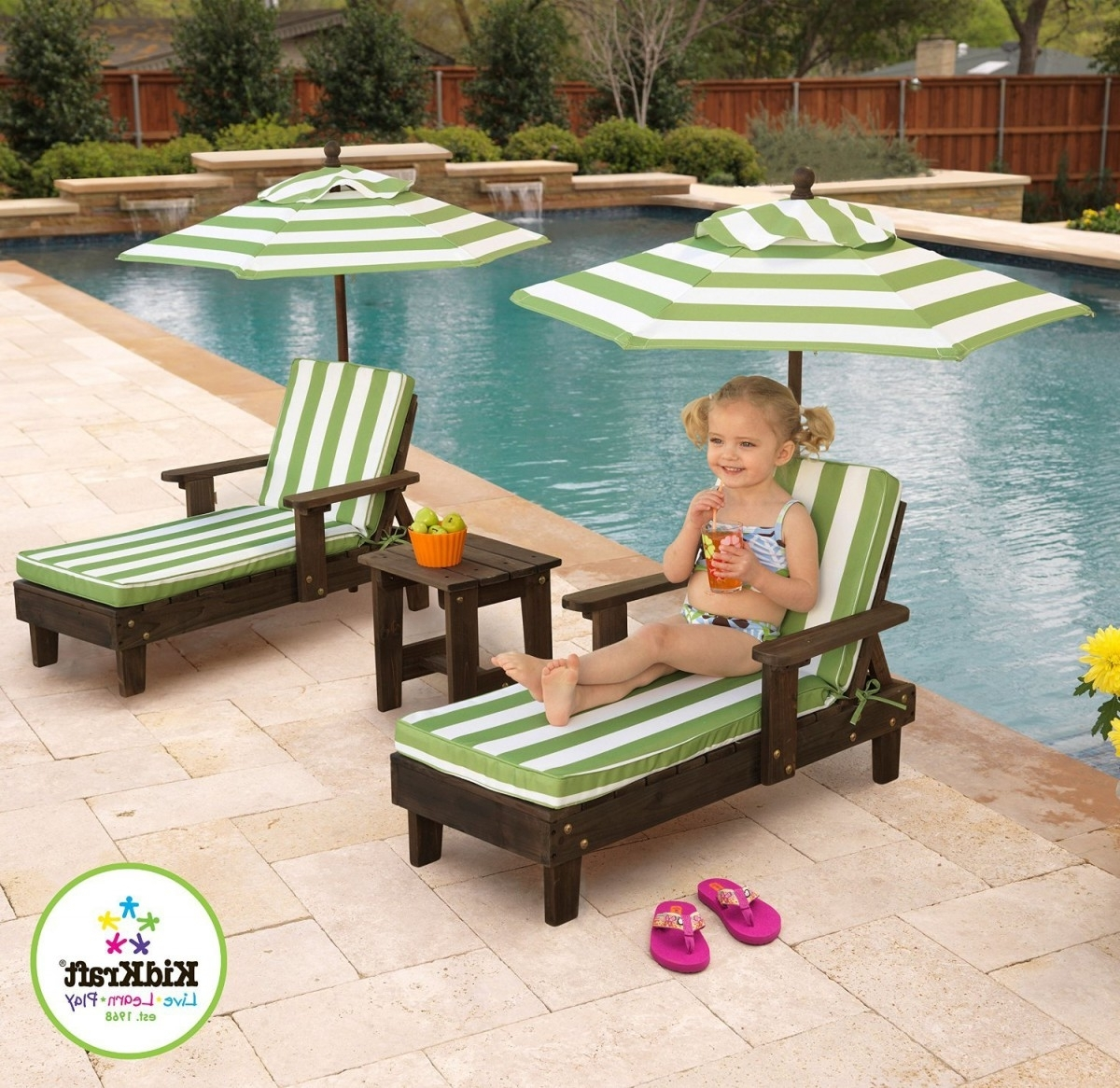 Kidkraft Outdoor Chaise Lounge Chairs And Umbrella Set Throughout 2017 Kidkraft Chaise Lounges (View 9 of 15)