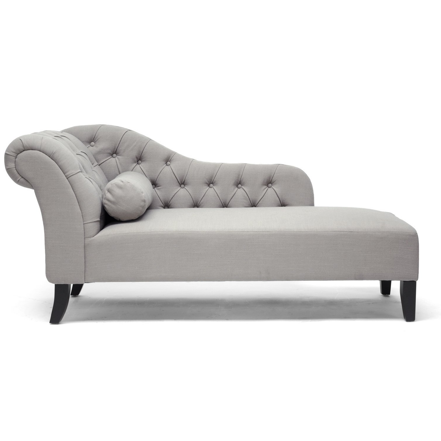 Kids Chaise Lounges Intended For Most Current Amazon: Baxton Studio Aphrodite Tufted Putty Linen Modern (View 8 of 15)