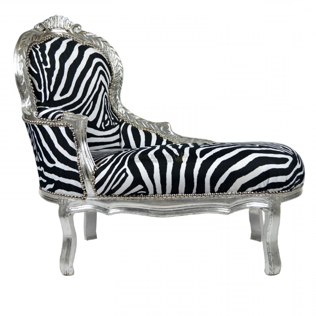 Kinder Chaise Lounge Zilver – Zebra – Kids Barok Pertaining To Widely Used Zebra Chaises (View 9 of 15)