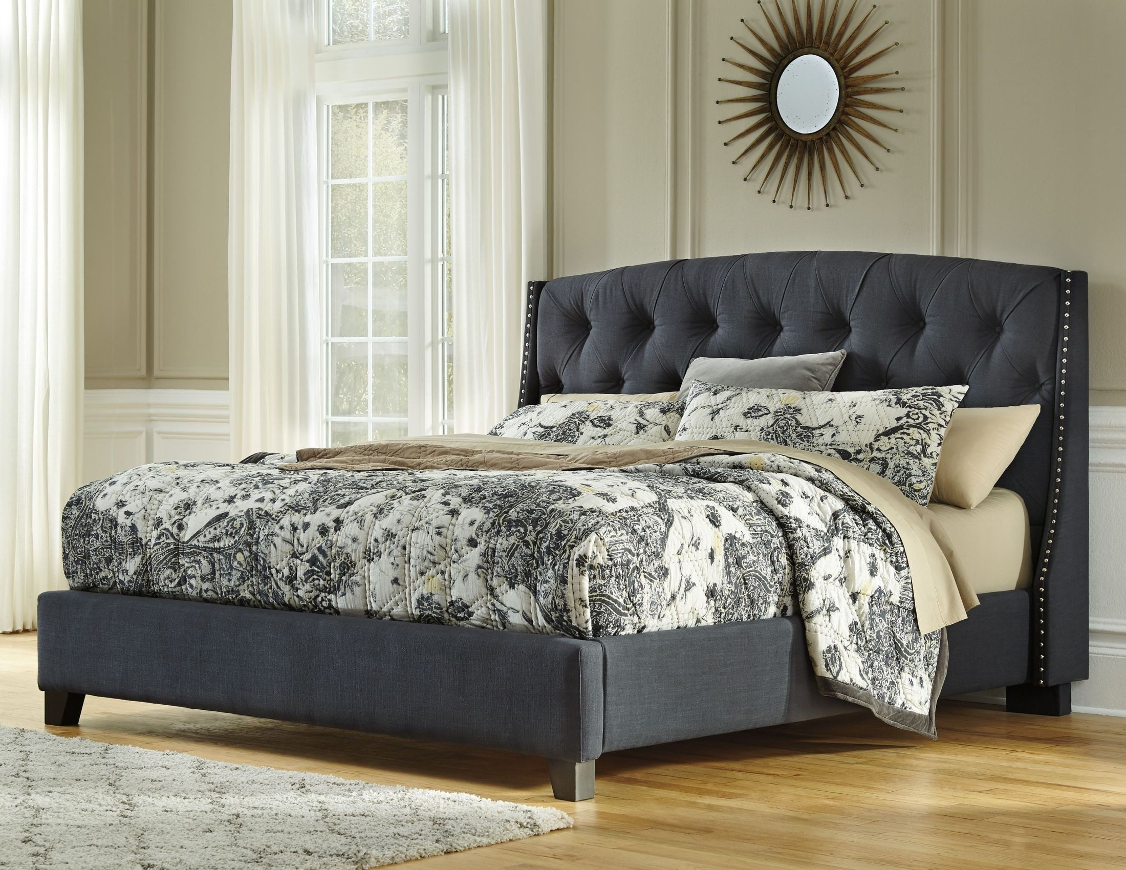 King Upholstered Platform Bed From Ashley (B600 558 556 597 For Current Ashley Tufted Sofas (View 11 of 15)