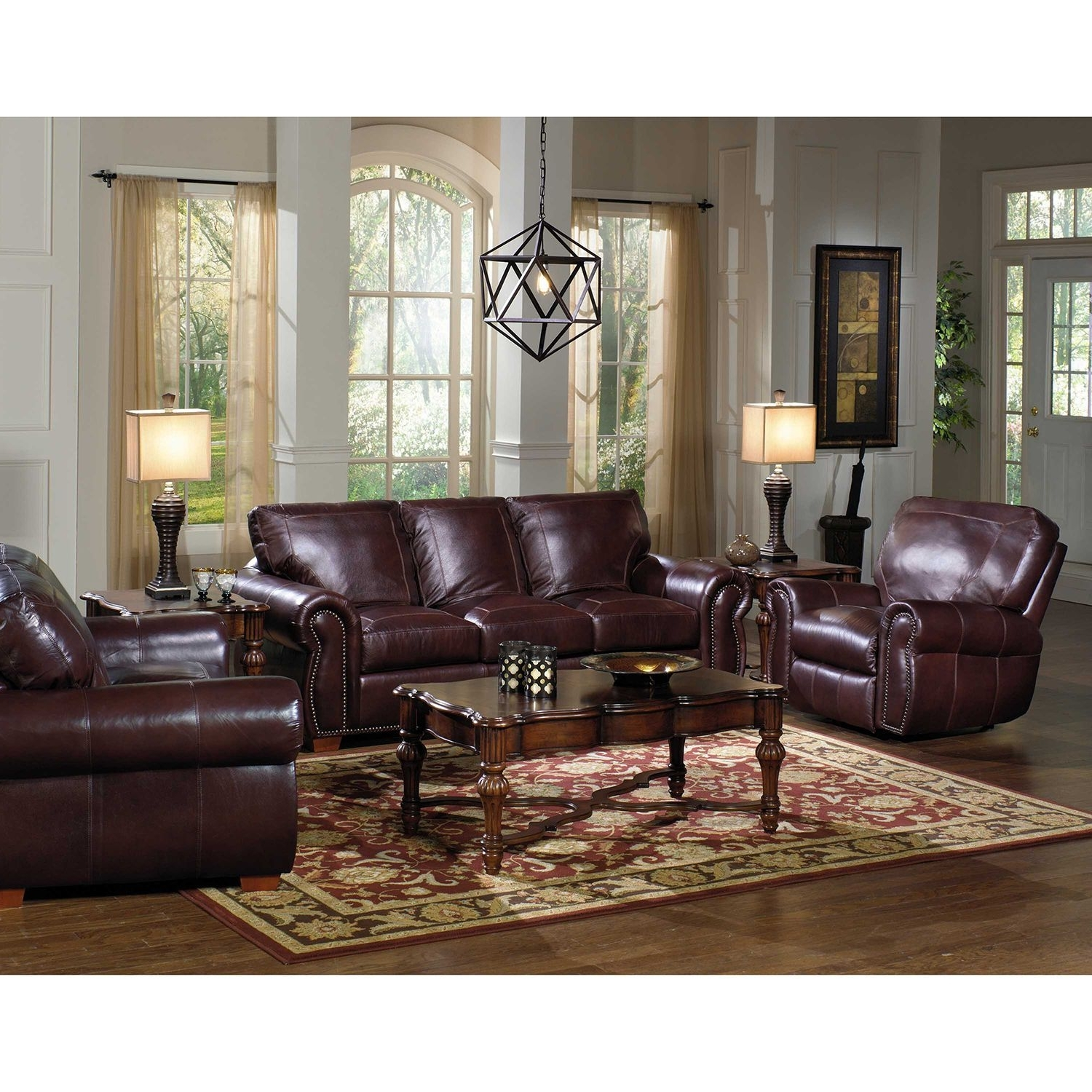 Kingston Top-Grain Leather Sofa, Loveseat And Recliner Living Room within Widely used Sams Club Sectional Sofas