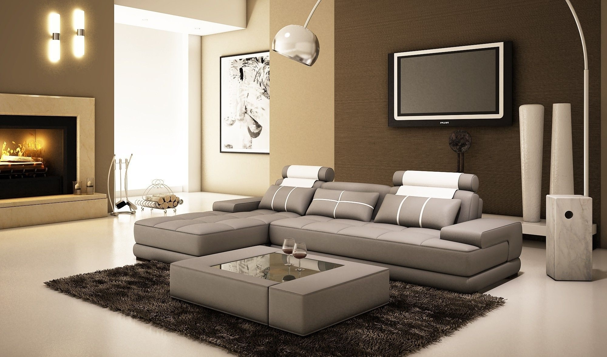 L Shaped Couches With Chaise With Regard To Most Current Gray Leather L Shaped Sectional Couch With Chaise Lounge And (View 7 of 15)