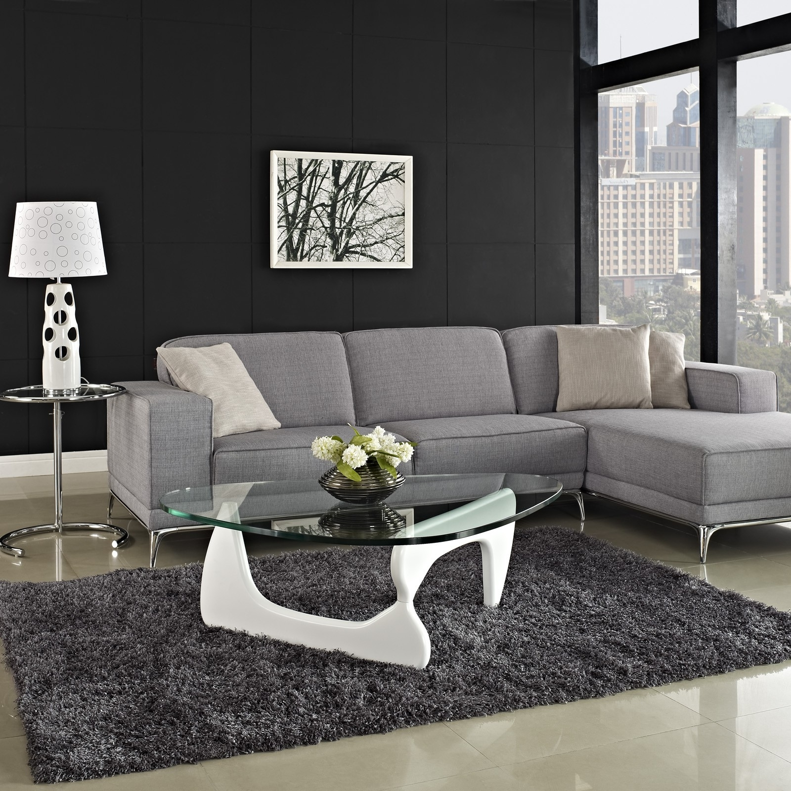 L Shaped Grey Sectional Sofa And White Cushions On Chrome Base Throughout Latest Coffee Tables For Sectional Sofa With Chaise (View 8 of 15)
