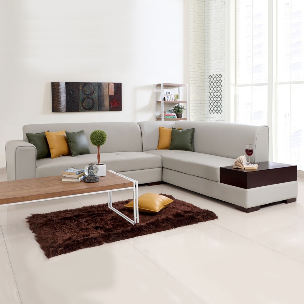 L Shaped Sofas In Well Liked L Shaped Sofas, Alden Leatherette L Shape Sofa Left – Light Beige (View 5 of 15)