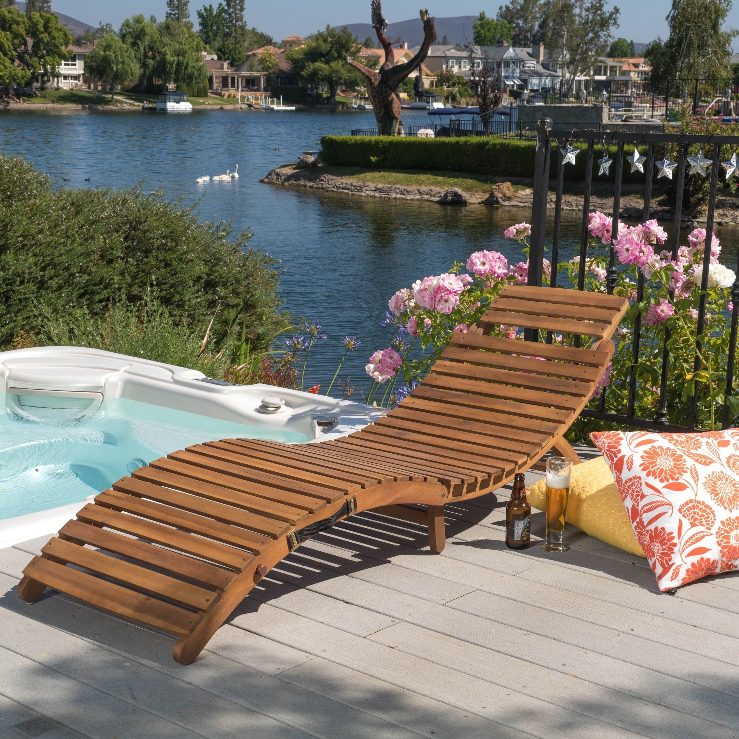 Lahaina Outdoor Acacia Wood Chaise Loungechristopher Knight Throughout Latest Overstock Outdoor Chaise Lounge Chairs (View 5 of 15)