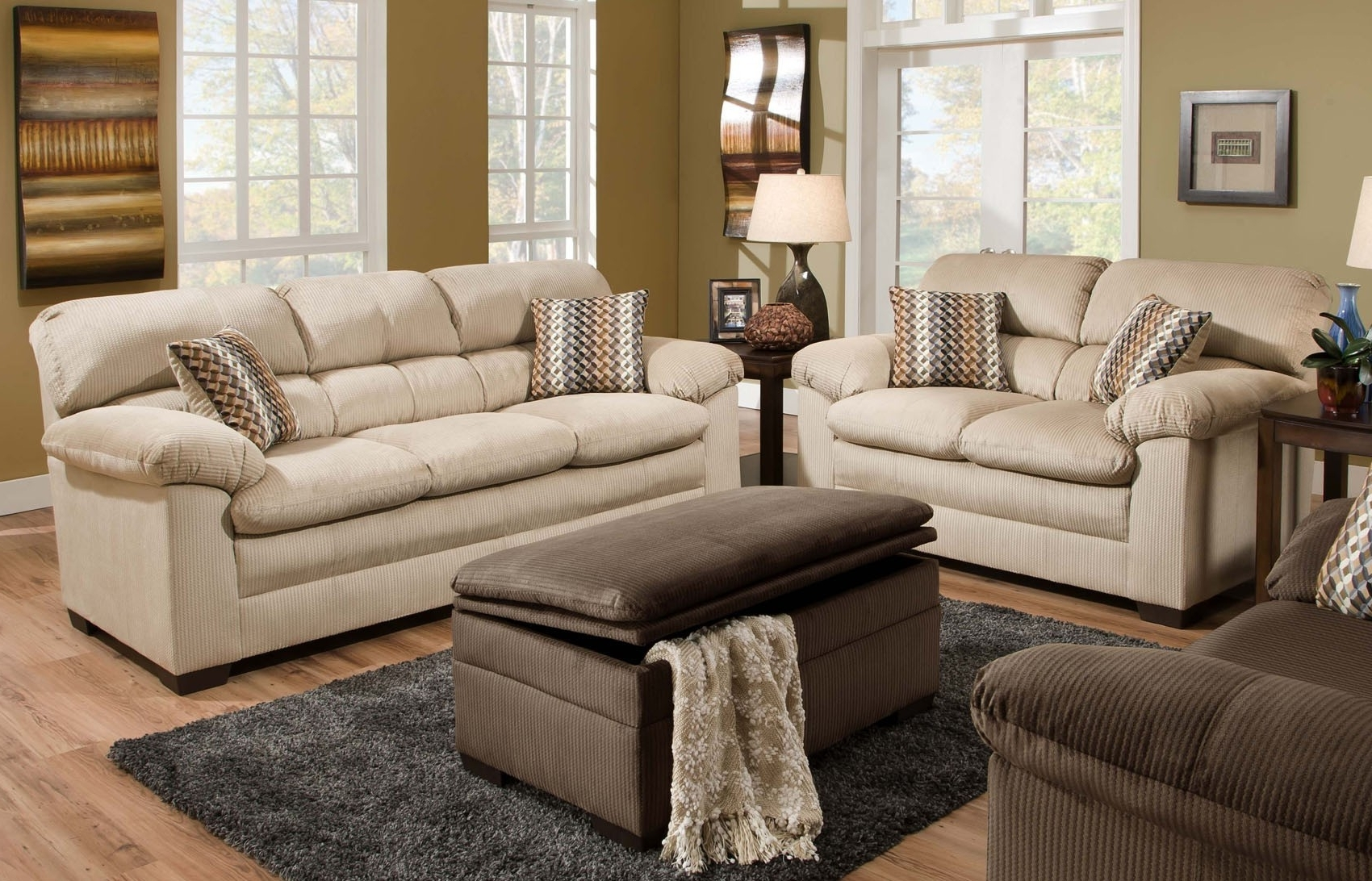 Lakewood Oversized Sofa & Loveseat Set (Beige) (View 9 of 15)