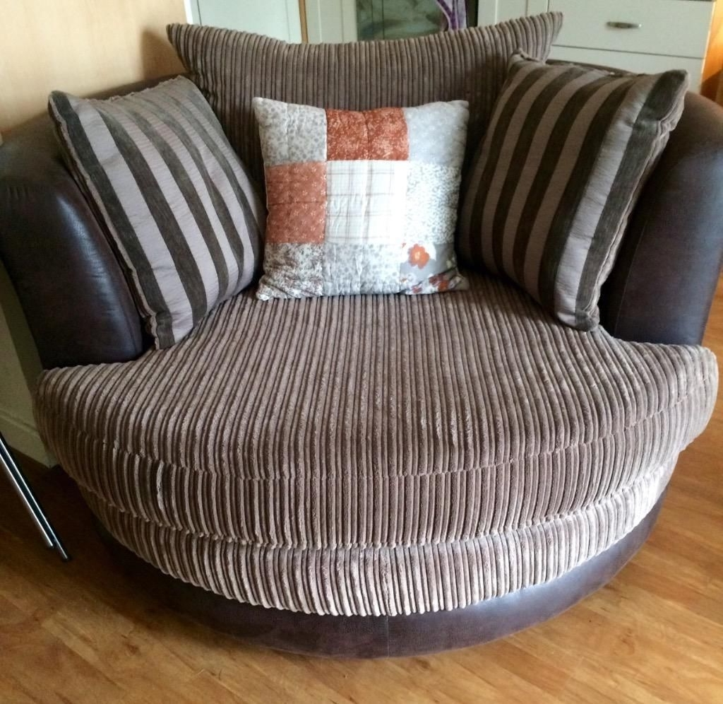 Large 4 Seater Sofa In Mocha Colour And Large Swivel Chair In Mink Regarding Current Large 4 Seater Sofas (View 5 of 15)