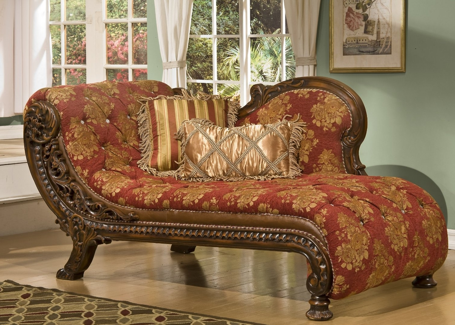 Large Chaises Intended For Fashionable Design Of Large Chaise Lounge With Bedroom Beige Velvet Tufted (View 3 of 15)