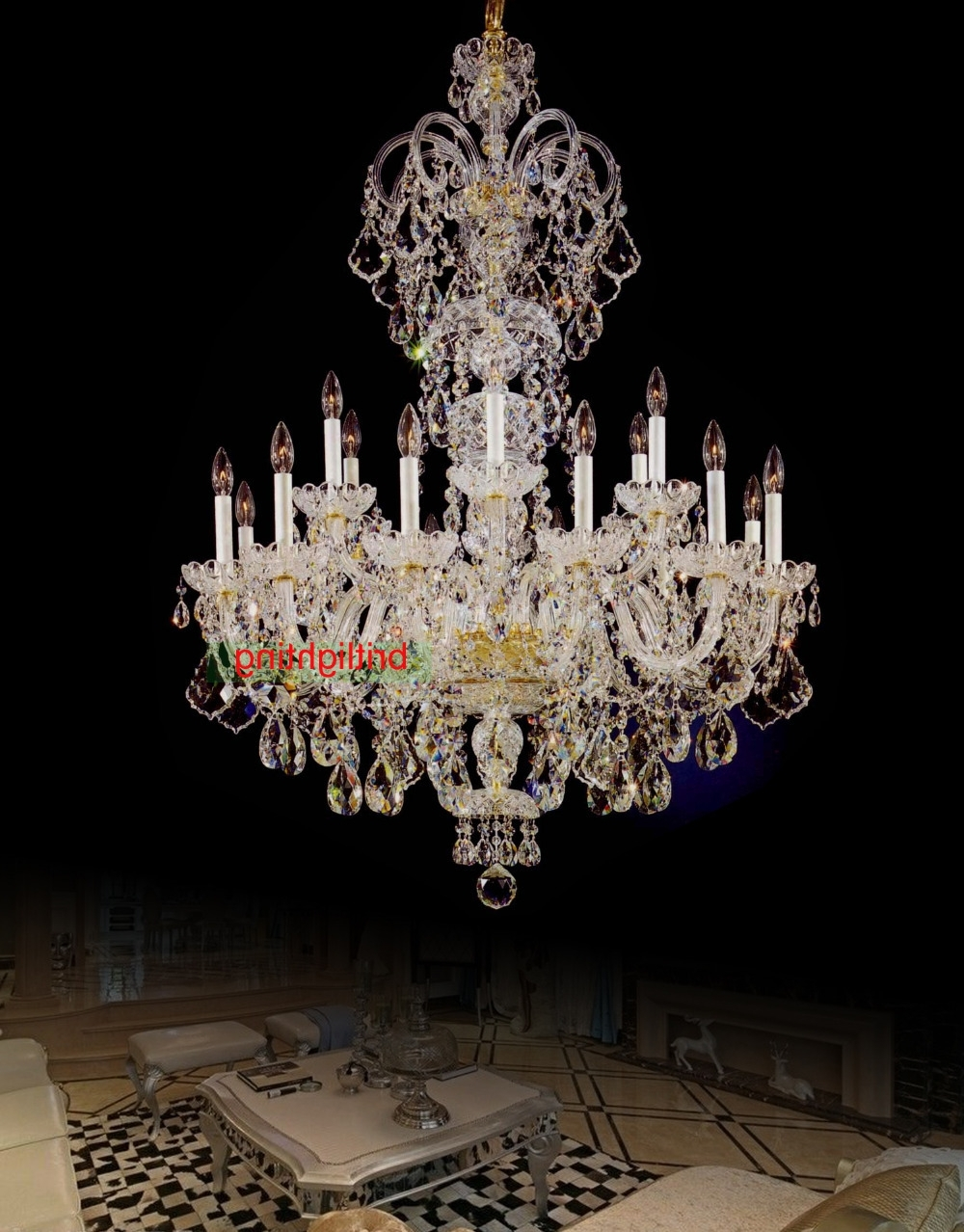 Large Crystal Chandelier Entrance Hall Lighting Luxury Crystal Light Intended For Famous Big Crystal Chandelier (View 2 of 15)