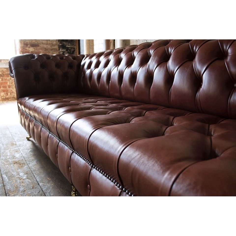 Latest 4 Seat Leather Sofas With Regard To Handmade 4 Seater Chesterfield Leather Sofa – Chestnut Brown Pedlars (View 7 of 15)