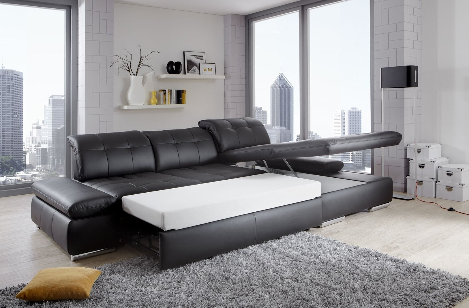 Latest Alpine Sectional Sofa In Black Leather Left Chaise Inside Trinidad And Tobago Sectional Sofas (View 3 of 15)