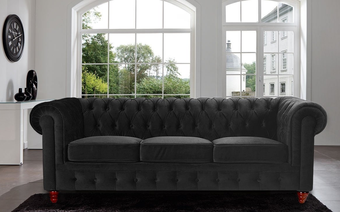 Latest Amazon: Divano Roma Furniture Velvet Scroll Arm Tufted Button Pertaining To Classic Sofas (View 9 of 15)