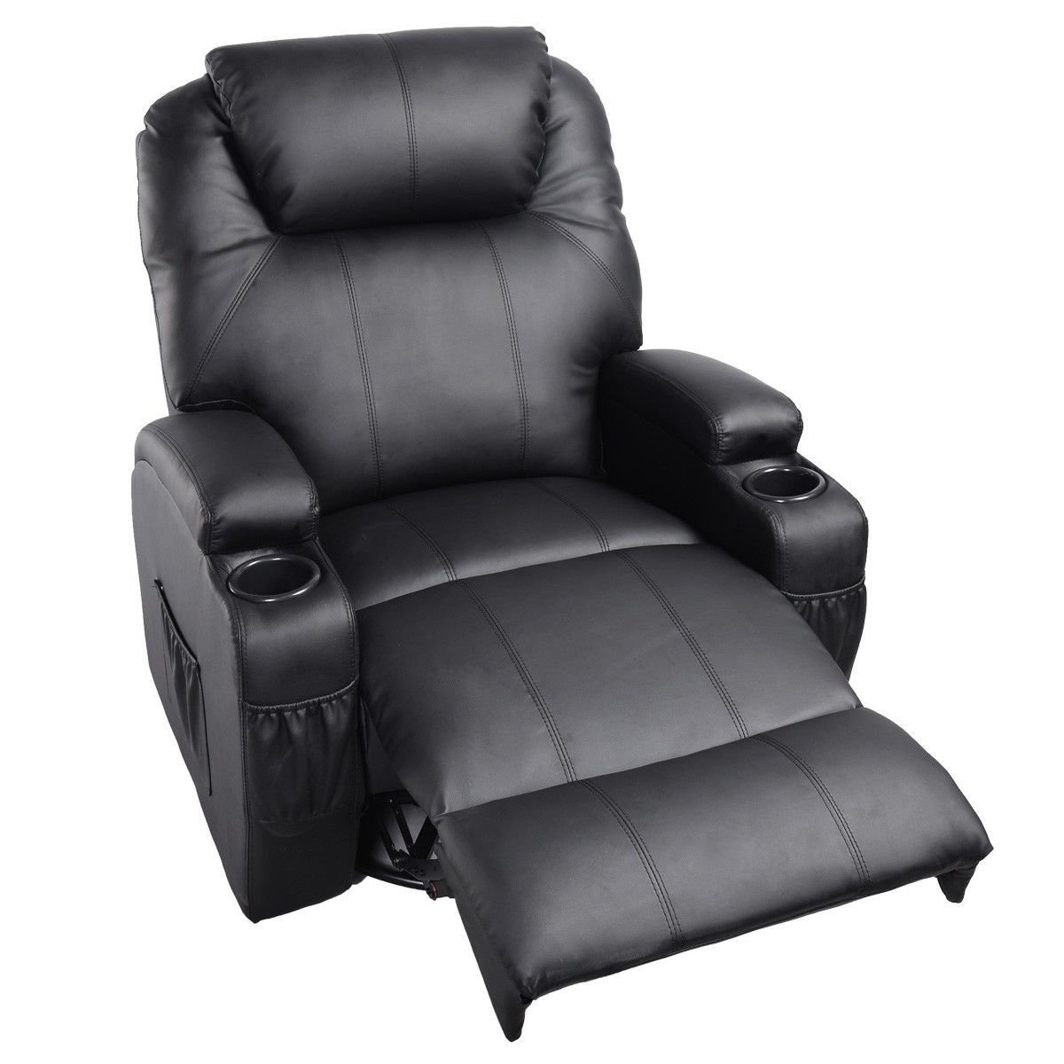 Latest Amazon: Ghp Black Sturdy Ergonomic Seating Massage Recliner Within Ergonomic Sofas And Chairs (View 10 of 15)