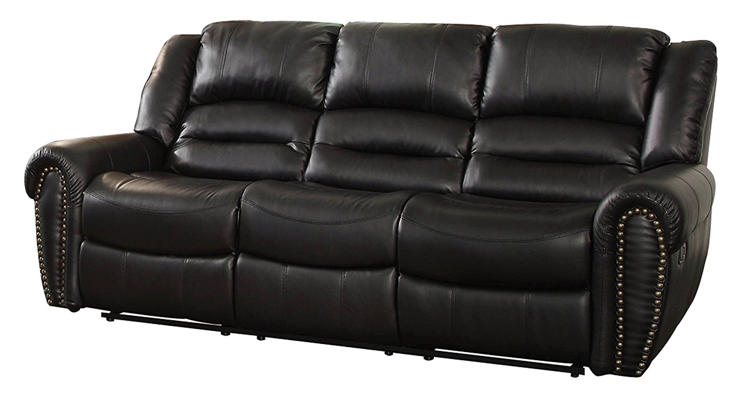 Latest Amazon: Homelegance 9668Blk 3 Double Reclining Sofa, Black For Recliner Sofas (View 6 of 15)