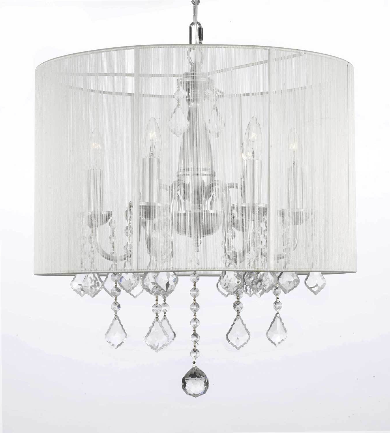 Latest Attractive White Chandelier With Shades G7 11266 Gallery Chandeliers Pertaining To Crystal Chandeliers With Shades (View 11 of 15)