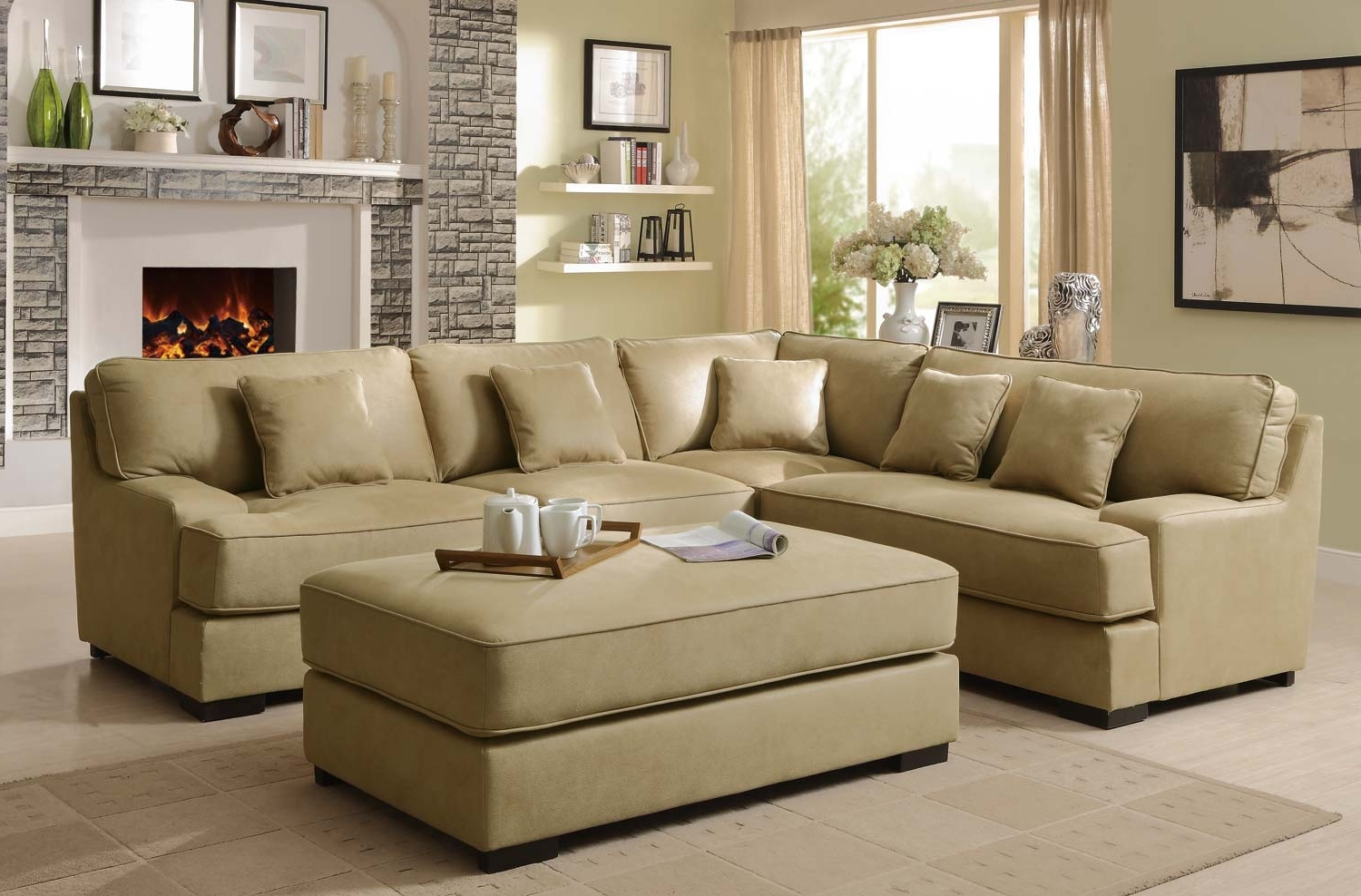 Latest Beige Sectional Sofas Inside Sectional Sofa Design: Amazing Beige Sectional Sofas Beige Leather (View 7 of 15)