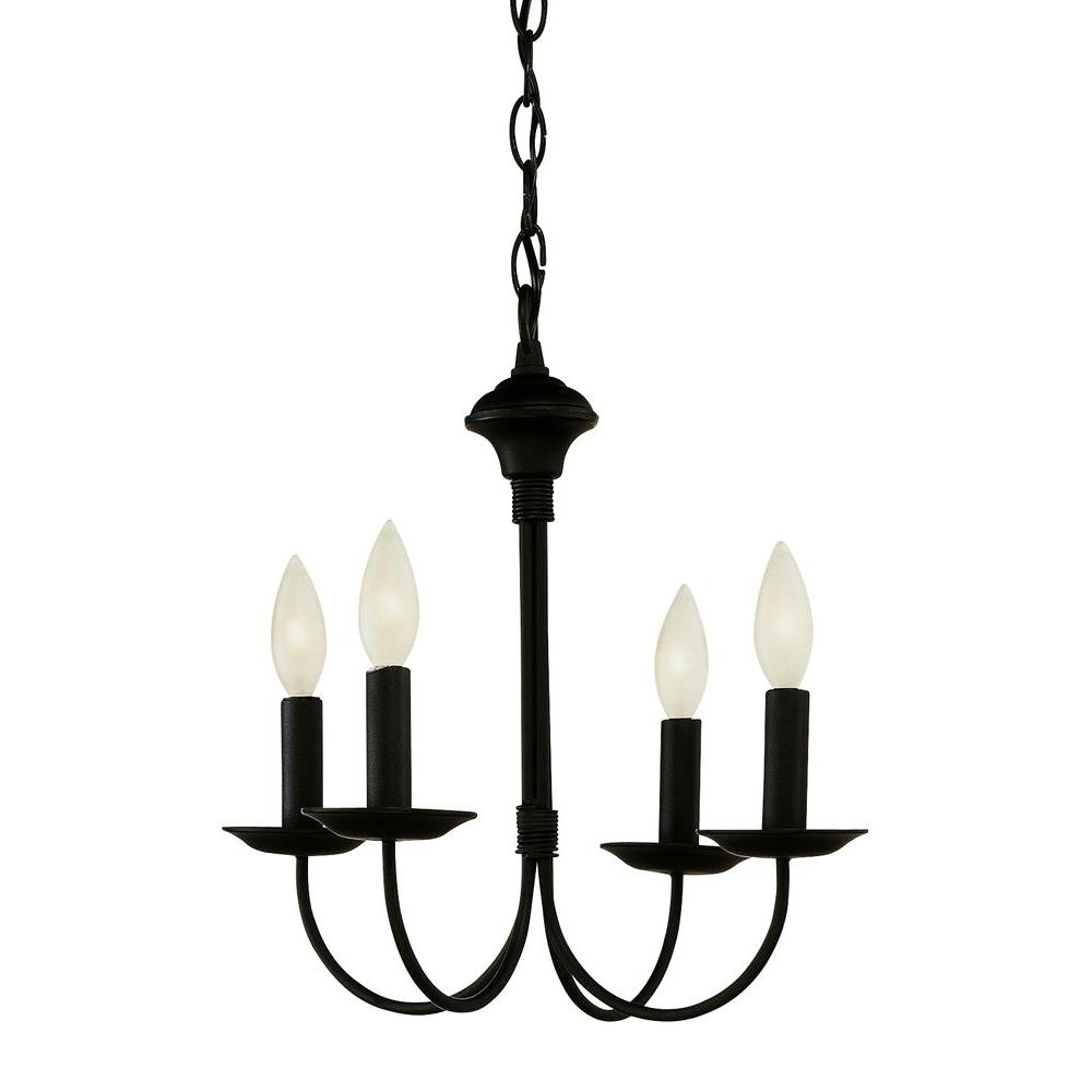 Latest Bel Air Lighting Cabernet Collection 4 Light Black Chandelier 9014 For Black Chandelier (Gallery 15 of 15)
