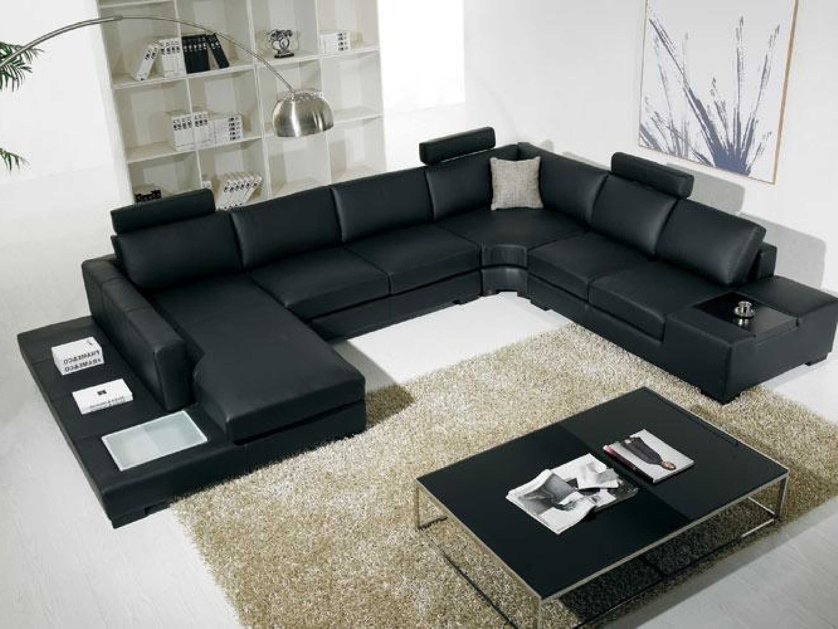 Latest Black Modern Sectional Sofa With End Table Corner – Http Intended For C Shaped Sofas (View 11 of 15)