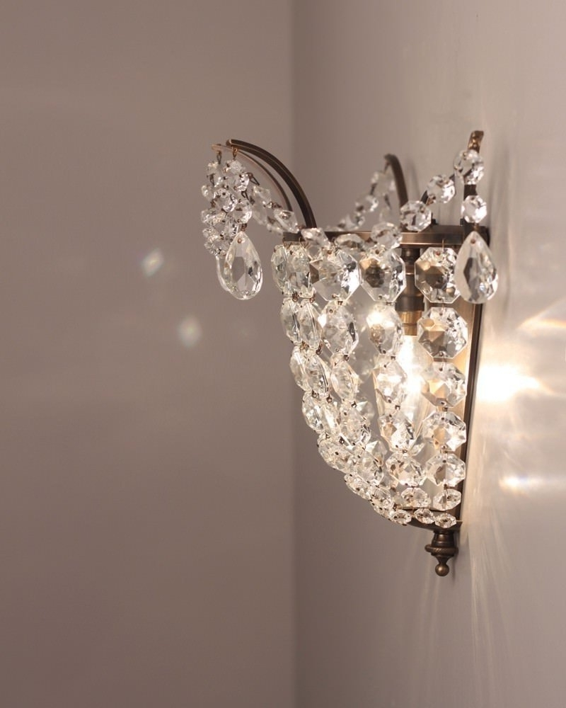 Latest Brass And Crystal Wall Light, Vintage Retro Wall Light Intended For Chandelier Wall Lights (View 12 of 15)