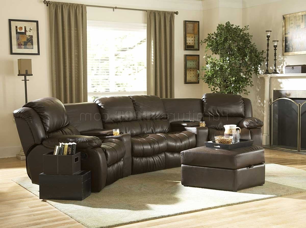 Latest Brown Bonded Leather Home Theater Recliner Sectional Sofa With Regard To Everett Wa Sectional Sofas (View 8 of 15)