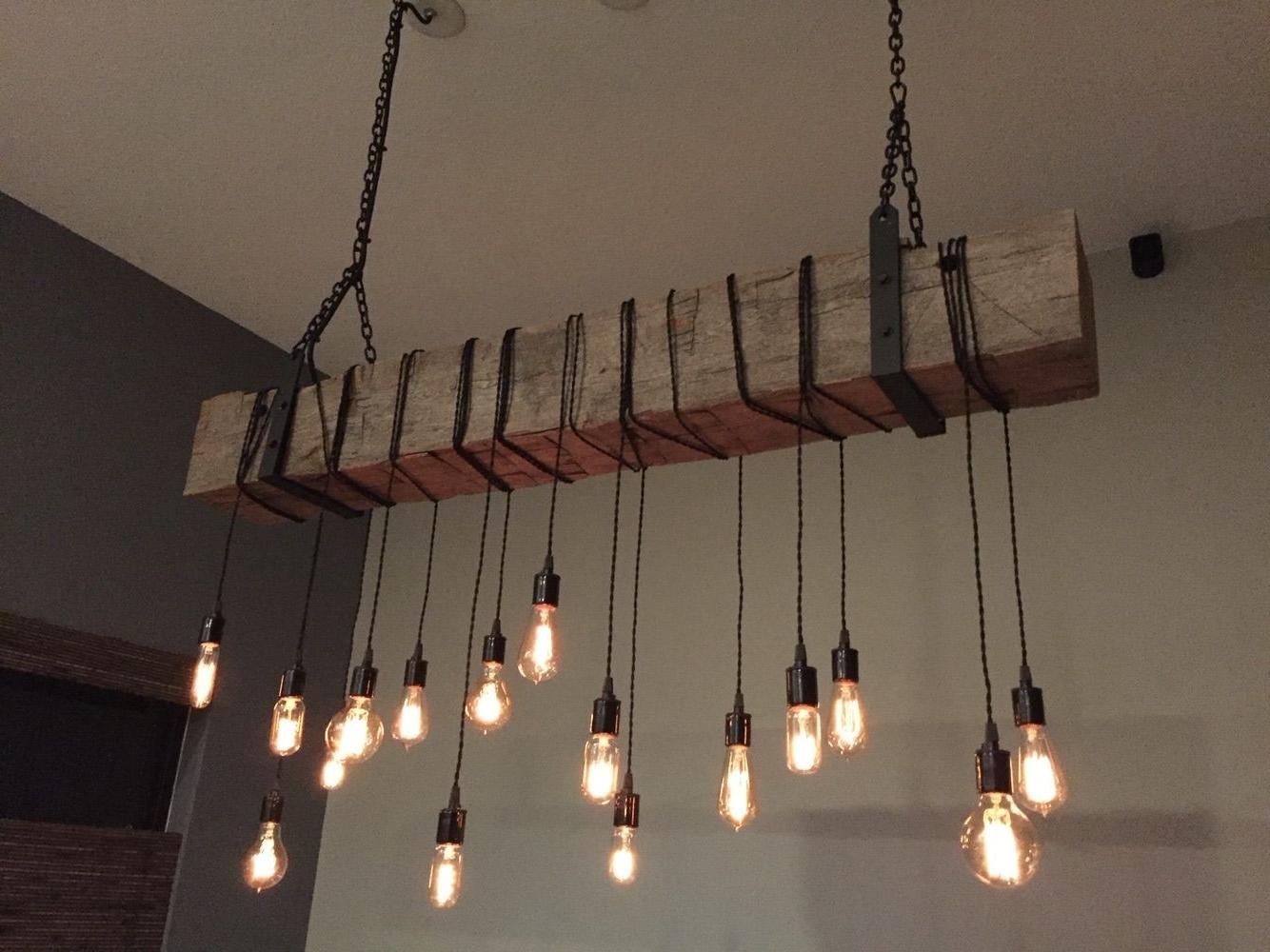 Latest Chandelier For Restaurant Intended For Buy A Custom Reclaimed Barn Beam Chandelier Light Fixture (View 9 of 15)