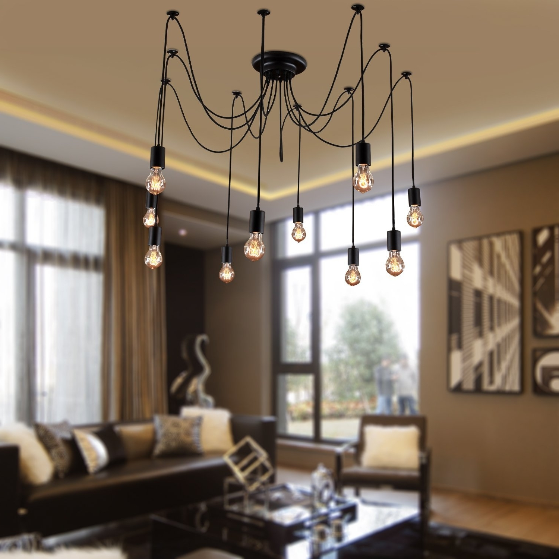 Latest Chandelier Lights For Living Room For Lightinthebox Vintage Edison Multiple Ajustable Diy Ceiling Spider (View 7 of 15)