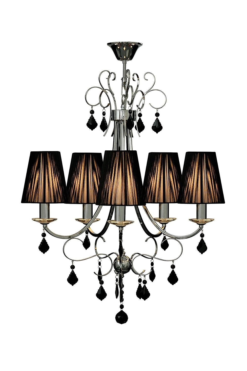 Latest Chandeliers With Black Shades For Premier Housewares Luma 5 Arm Black Chandelier Crystal With Ribbed (View 11 of 15)