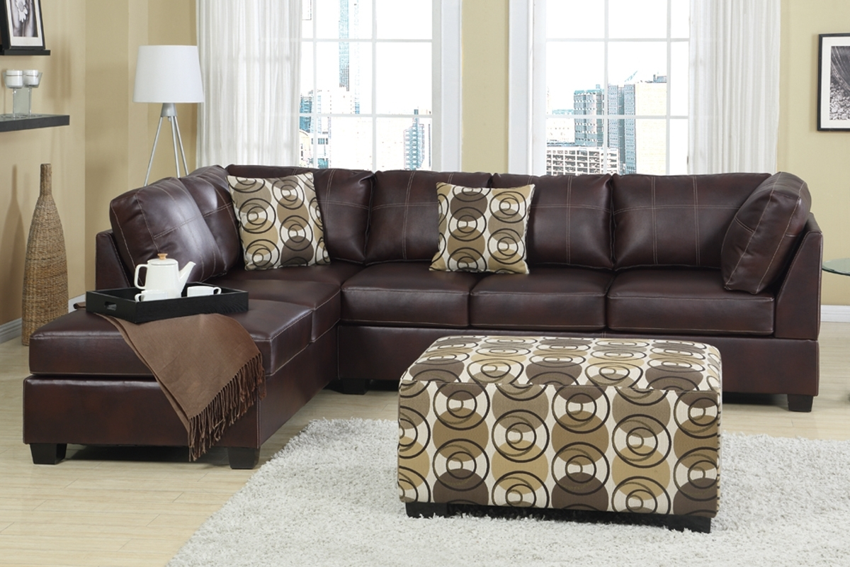 Latest Cheap Sectionals With Ottoman For Furniture: Charming Cheap Sectional Sofas In Brown With Cushion (View 10 of 15)